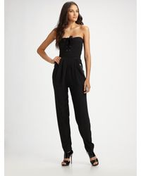 Sonia by Sonia Rykiel | Black Corset-style Silk-crepe Jumpsuit | Lyst
