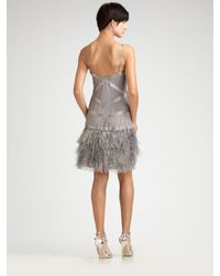 Sue Wong | Metallic Feathered Deco Cocktail Dress | Lyst