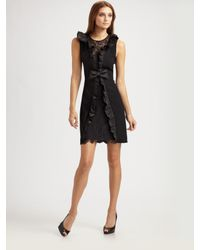 Teri Jon | Black Ruffle-front Sheath Dress | Lyst