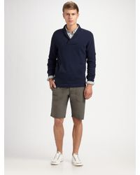Theory | Blue Renoir Cotton Breeze Shawl Collar Pullover for Men | Lyst