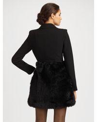 Tibi - Black Mademoiselle Wool & Faux Fur Coat - Lyst
