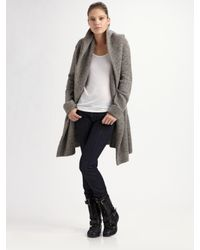 Vince | Gray Hooded Sweater Coat | Lyst