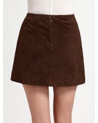 Vince - Brown Suede Wrap-front Skirt - Lyst