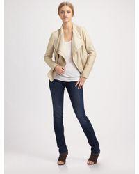 VINCE | Natural Leather Cowlneck Jacket | Lyst