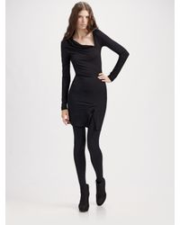 Alice + Olivia | Black Asymmetric Long Sleeve Dress | Lyst