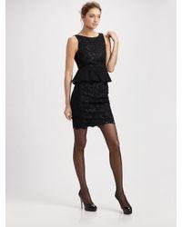 Alice + Olivia | Black Josephine Lace Peplum Dress | Lyst