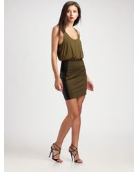 Alice + Olivia | Green Nicky Blouson Dress | Lyst