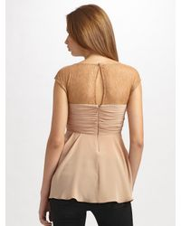 BCBGMAXAZRIA - Pink Silk Crepe De Chine and Lace Top - Lyst