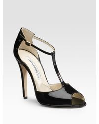 Brian Atwood | Black Erika Patent Leather T-strap Sandals | Lyst