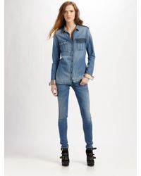 Burberry Brit - Blue Denim Button-down Shirt - Lyst