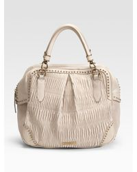 Burberry | Natural Plissé Leather Tote | Lyst