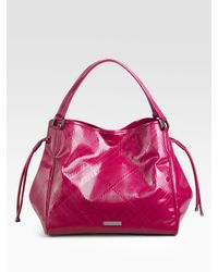 Burberry - Pink Medium Embossed Check Patent Leather Tote - Lyst