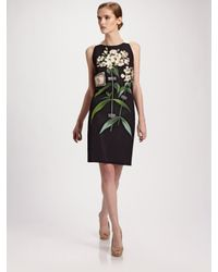 Carolina Herrera - Black Botanical Print Silk Sheath Dress - Lyst