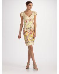 Carolina Herrera | Multicolor Floral Jacquard Cap Sleeve Dress | Lyst