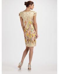 Carolina Herrera - Multicolor Floral Jacquard Cap Sleeve Dress - Lyst