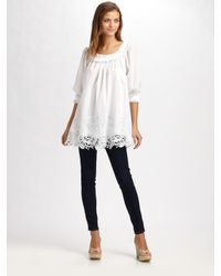 Catherine Malandrino | White Embroidered Tunic Top | Lyst