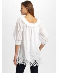 Catherine Malandrino - White Embroidered Tunic Top - Lyst