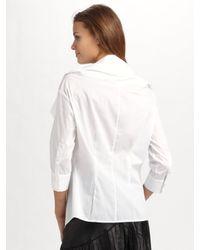 Catherine Malandrino - White Fold-over Collar Top - Lyst