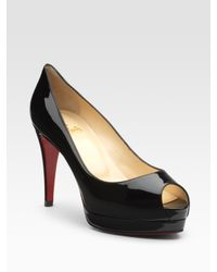 Christian Louboutin - Black Altadama Patent Leather Peep-toe Pumps - Lyst