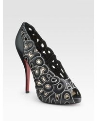 Christian Louboutin | Black Cutout Letter Leather Tell Me 120 Pumps | Lyst