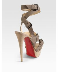 Christian Louboutin - Brown Toutenkaboucle Strappy Canvas Sandals - Lyst