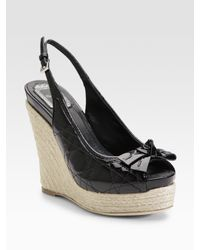 Dior | Black Cannage Ribbon Patent Wedge Sandals | Lyst