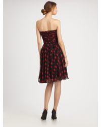 Dolce & Gabbana - Purple Polka Dot Chiffon Strapless Dress - Lyst