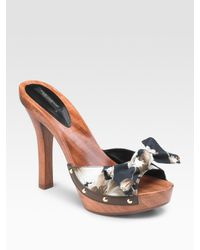 Dolce & Gabbana | Gray Floral-print Peep-toe Canvas Clogs | Lyst