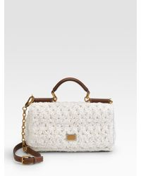 Dolce & Gabbana | White Miss New Sicily Raffia Top Handle Bag | Lyst