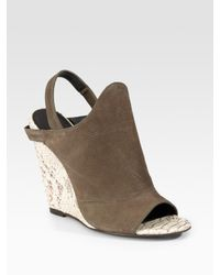 Elizabeth and James | Green Suede & Snake-printed Leather Wedge Sandals | Lyst
