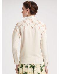 Erdem - Natural Wendy Laser Cut Embroidered Blouse - Lyst