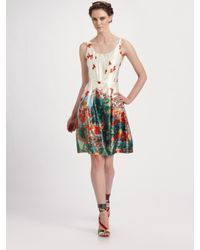 Erdem | Red Freya Floral Silk Scoopneck Dress | Lyst