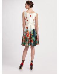 Erdem | Red Freya Floral Silk Scoopneck Dress | Lyst