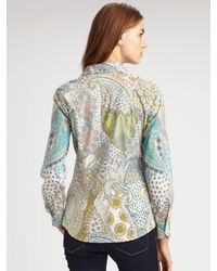 Etro | Blue Off The Shoulder Tunic | Lyst