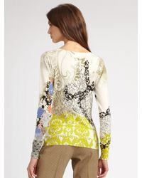 Etro - Green Floral Paisley V-neck Top - Lyst