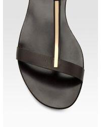 Ferragamo - Brown Dan T-strap Flat Sandals - Lyst