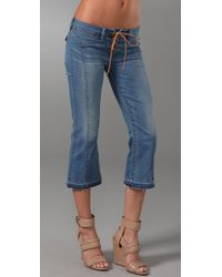 Genetic Denim | Blue Alaina Lace Up Cropped Flare Jeans | Lyst
