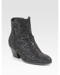 Giuseppe Zanotti | Black Glitter Ankle Boots | Lyst