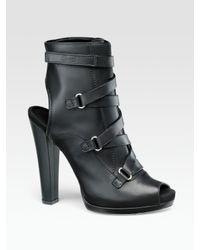 Gucci | Black Devon Peep-toe Open-back Ankle Boots | Lyst