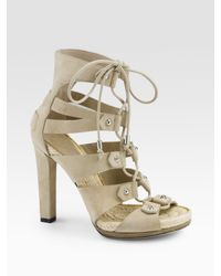 Gucci - Natural Jasmine Suede Lace-up Sandals - Lyst