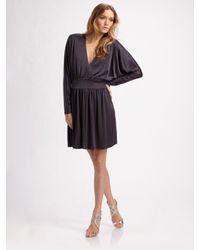 Halston | Blue Deep V-neck Cocktail Dress | Lyst