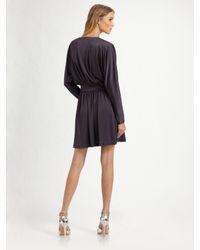 Halston - Blue Deep V-neck Cocktail Dress - Lyst