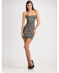 Hervé Léger | Black Strapless Jacquard Mini Dress | Lyst