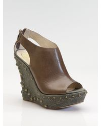 House of Harlow 1960 | Brown Peep-toe Studded Wedge Sandals | Lyst