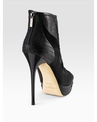 Jimmy Choo - Black Faxon Mixed Material Ankle Boots - Lyst