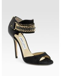 Jimmy Choo | Black Jenna Chain Ankle-wrap Suede & Leather Sandals | Lyst