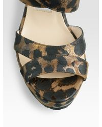 Jimmy Choo - Black Penny Leopard-print Wedge Sandals - Lyst
