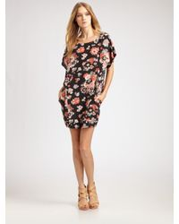 Joie | Black Floral Silk Shift Dress | Lyst