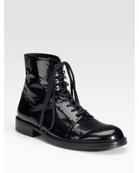 Junya Watanabe | Black Flat Lace-up Shiny Leather Ankle Boots | Lyst