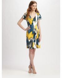 Lavia18 - Yellow Printed Stretch Pique Dress - Lyst